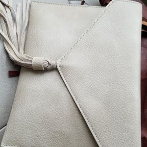 Handbags - Taupe leather clutch